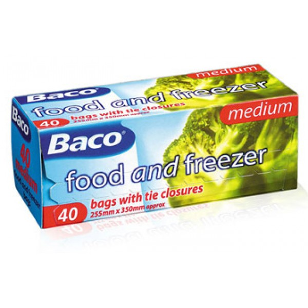 Baco Medium Food And Freezer Bags With Tie Closures 40pcs 255mm X 350mm