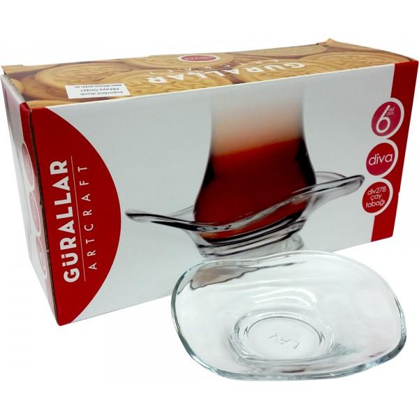 Gurallar Artcraft Diva DIV278 Turkish Tea Plate/Soucers 6pcs