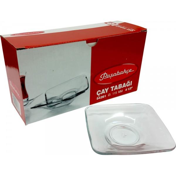 """Pasabahce 54261 Turkish Tea Plate/Soucers 6pcs (115mm 4 1/2"""")"""
