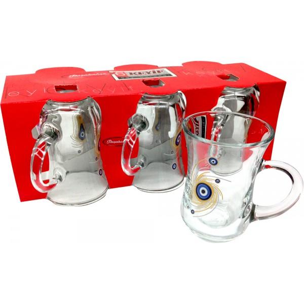 Pasabahce Keyif 6x Evil Eye Turkish Tea Glasses 55411