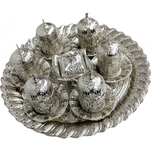 Silver Lux Authentic Ottoman Tulip Patterned Turkish Coffee/ Esspresso Cup Set