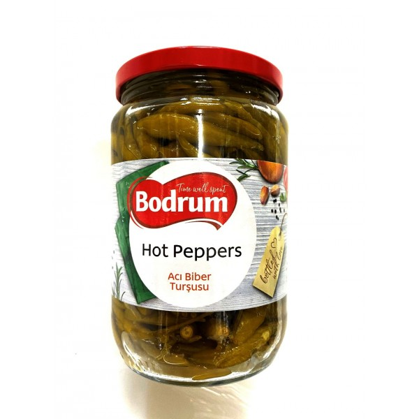 Bodrum Green Hot Peppers 630g