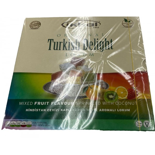 Ikbal Turkish DElight Mixed Fruit Flavoure Sprinkled With Coconut 350g