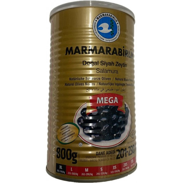 Marmarabirlik Mega XL Naturel Black Olives 800g Net Weight 1260g