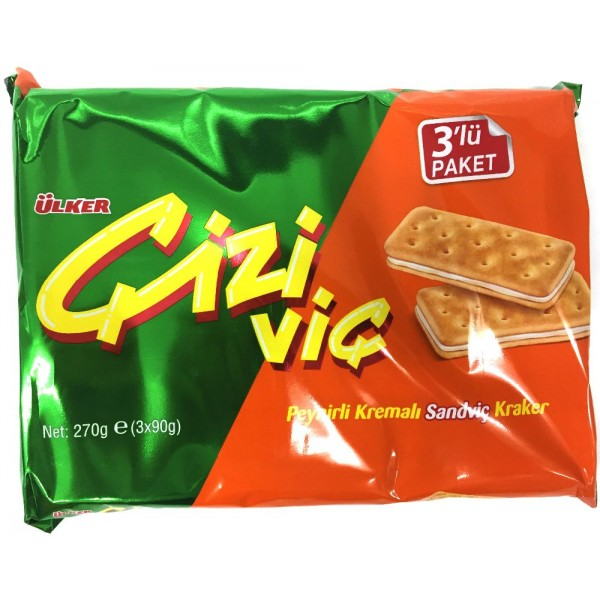 Ulker Cizi Vic Sandwich Crackers With Cheese Cream 3-Packed 270g