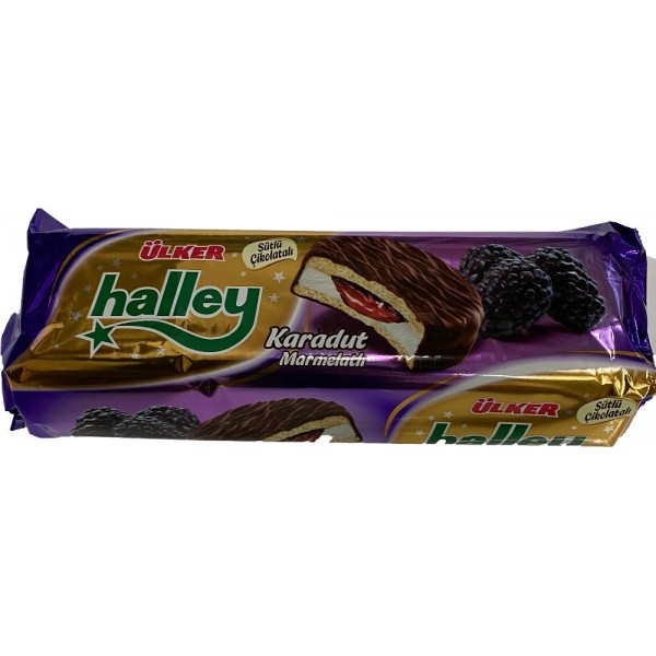 Ulker Halley Chocolate Coated Blackberry And Sandwich Biscuits With Marshmallow
