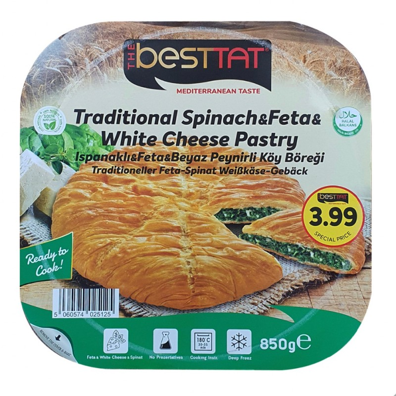 BestTat Traditional Spinach And Feta And White Cheese Pastry 850g