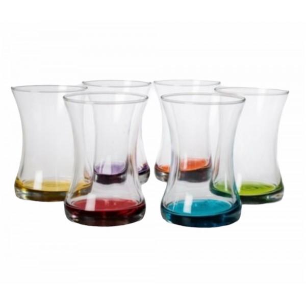 Lav Zen Colour Turkish Tea Cup Set 6x