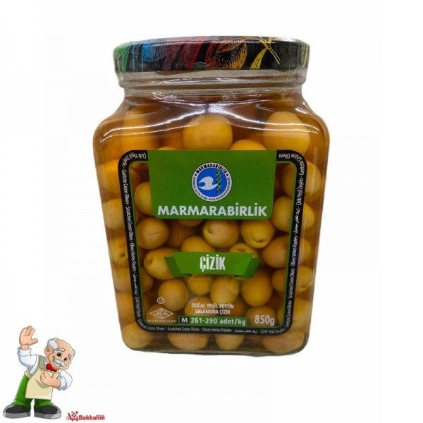 Marmarabirlik Scratched Green Olives Drained Weight 850g Net Weight 1480g