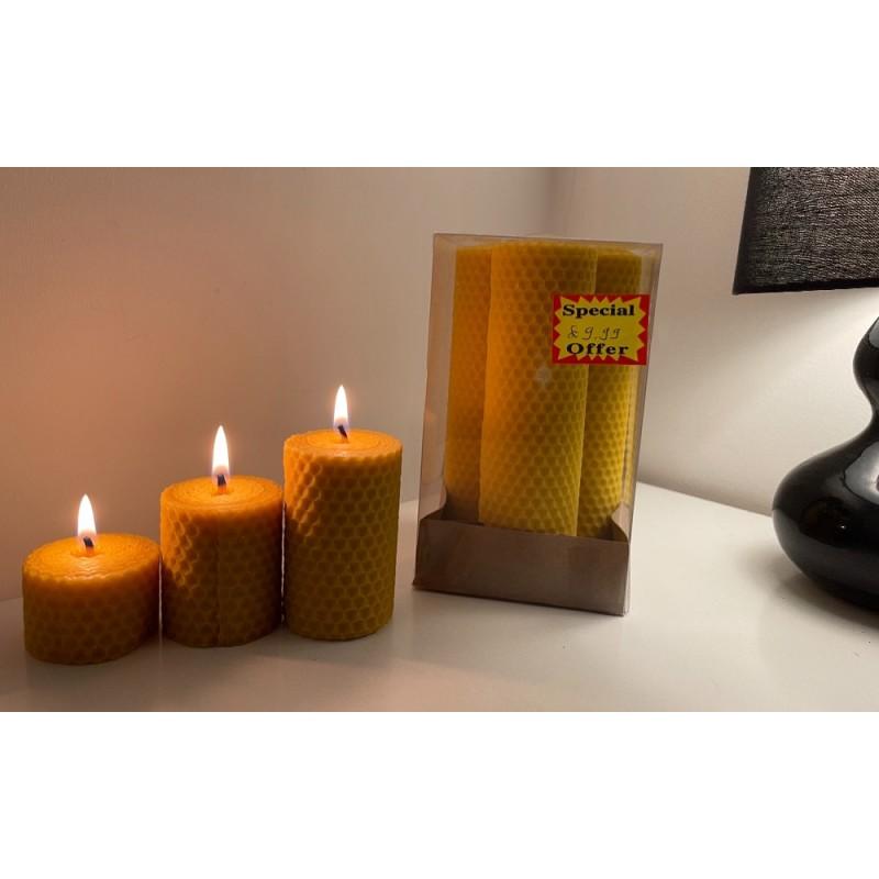 Organic Honey Candle 15cm X 3