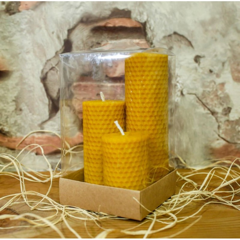 Organic Honey Candle 7cm-10cm-15cm Set