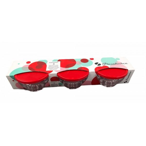 Pasabahce Karaman Small Bowl With Cover 3pcs