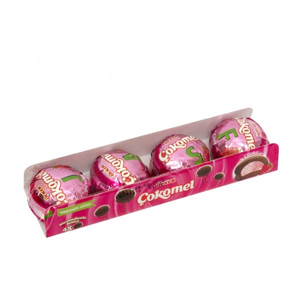 Ulker Cokomel Strawberry Marshmallow Biscuit Coated With Chocolate