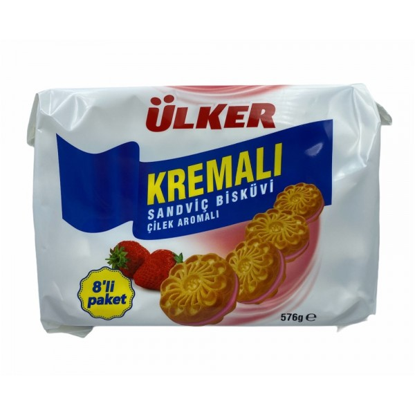 Ulker Strawberry Flavored Cream Biscuit 576gr
