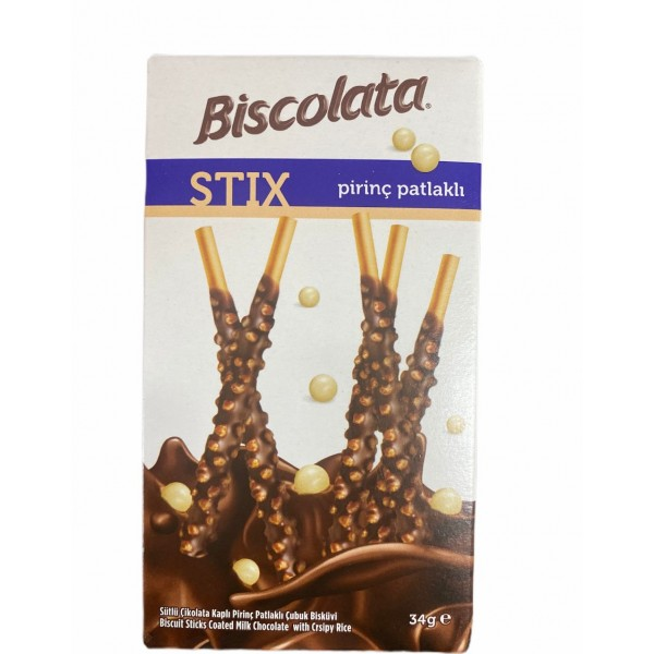 Biscolata Biscuits Sticks Coated Milk Chocolate With Crsipy Rice 34g