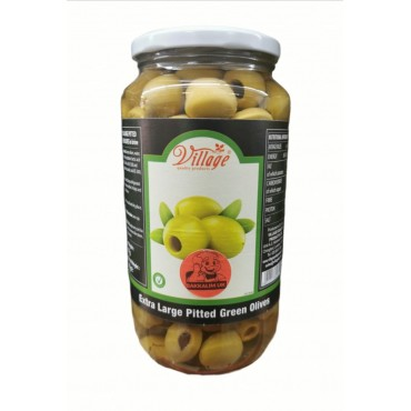 Village Extra Large Pitted Green Olives 907g