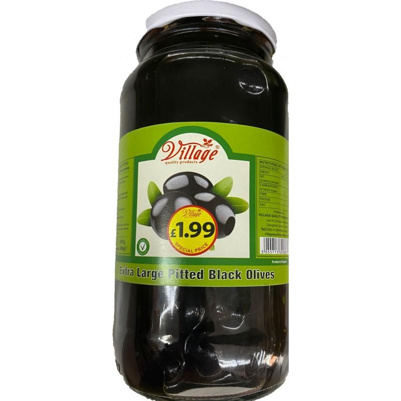 Village Extra LargePitted Black Olives 690g