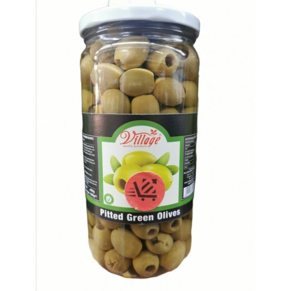 Village Pitted Green Olives 690g