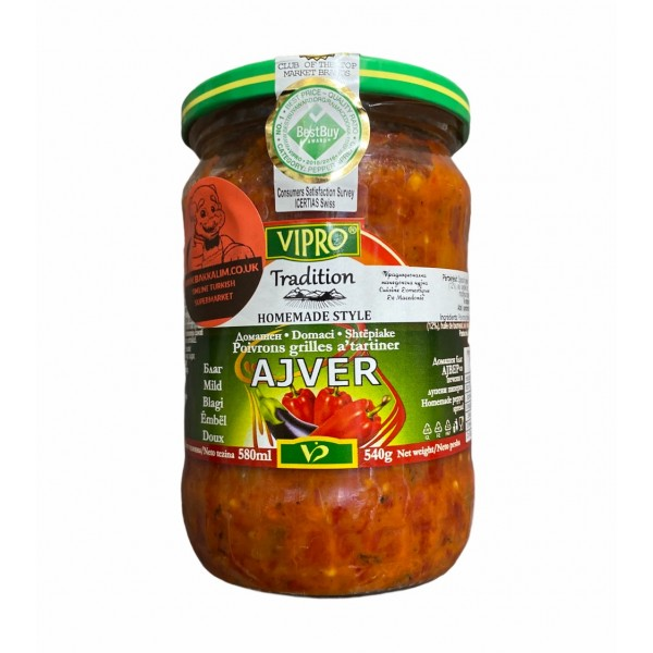 Vipro Home Made Ajver Roasted And Peeled Peppers 580ml